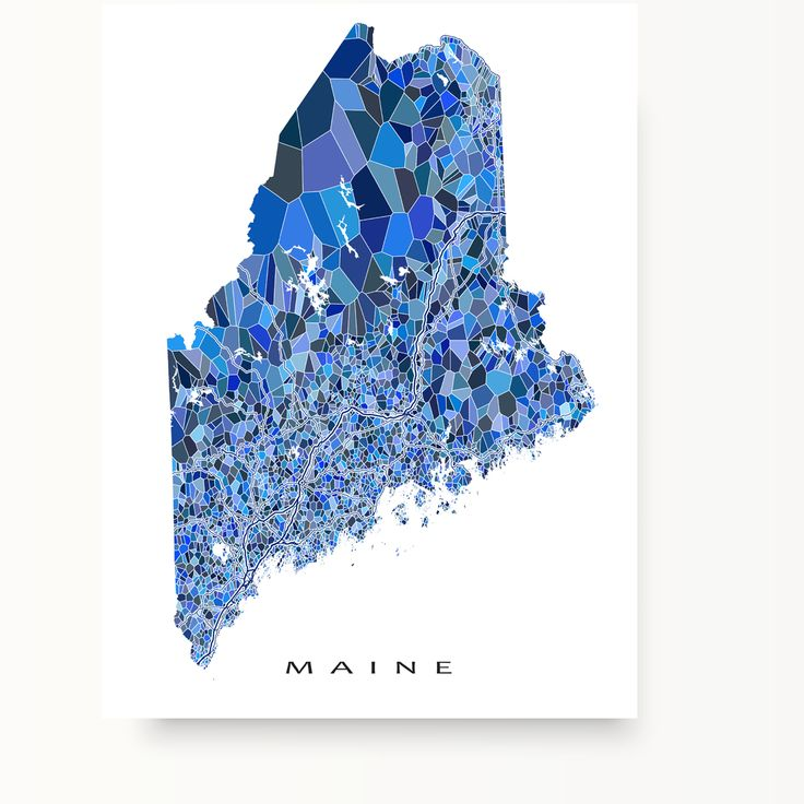 Maine Map Art Print Our Blue Shapes