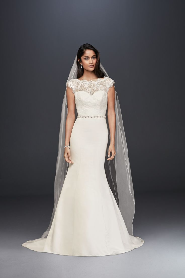 Illusion lace and satin mermaid wedding dress for a look similar to Pippa Middleton's wedding dress. See more Pippa inspired looks on the David's Bridal blog.