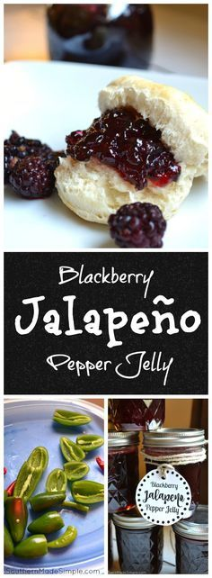 Blackberry Jalapeno Pepper Jelly Recipe - a really simple recipe to make the sweetest jelly around - with a hint of heat!