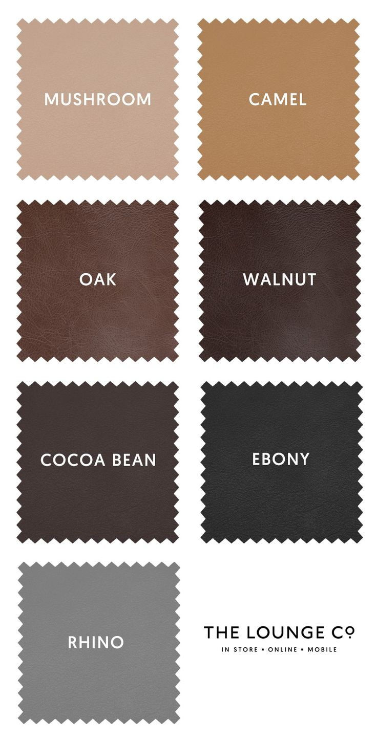 Ones to Swatch | At The Lounge Co. we offer two types of leather; Smooth and Distressed. Both are Semi-Aniline and in a range of classic and contemporary shades. Order up to 8 free swatches now. Mushroom, Camel, Oak, Walnut, Cocoa Bean, Ebony, Rhino. #theloungeco #swatch #swatches #leather #brown #black #tan #grey #vintage #smooth #sofa #chair #upholstery