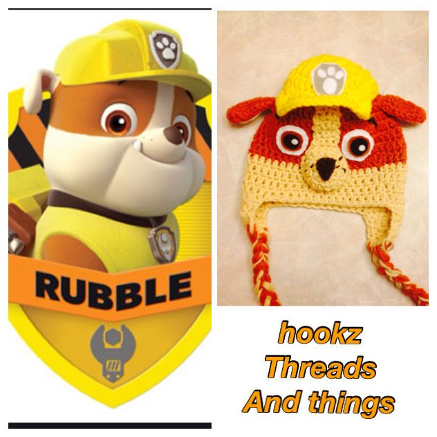 handmade disneys paw patrol rubble hat set. my boys would love this
