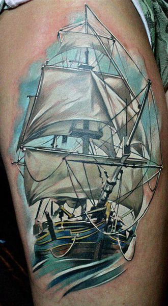 Stunning realistic ship tattoo peter pan tattoo pinterest for Tattoo classes online free