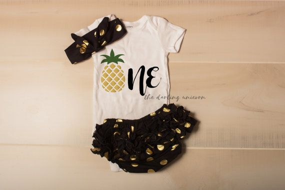 Pineapple ONE infant girl bodysuit baby girl by TheDarlingUnicorn