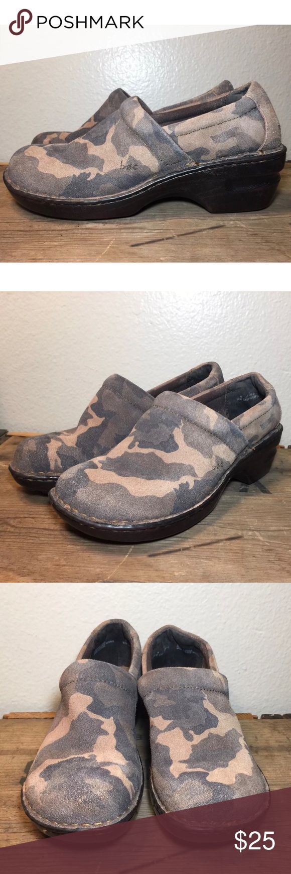 BØC Clogs Brown Camouflage SlipOn Mules Distressed BØC Born Womens Clogs Brown Camouflage Print Slip On Mules SZ 9M Camo Distressed  Brand- b.ø.c Size- 9 Color- Brown Condition- Have signs of wear, see pictures. Born Shoes Mules & Clogs