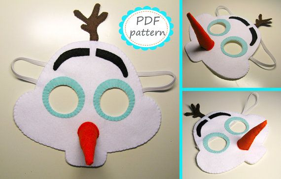Pdf Pattern Snowman Olaf Felt Mask Diy Frozen By