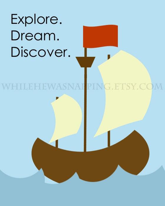 Digital Pirate Ship Quote - Dream.  Explore.  Discover. $8.00, via Etsy.