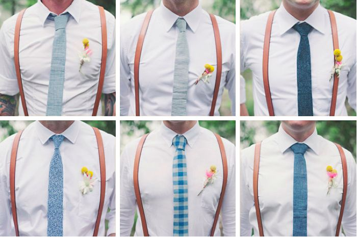 Well-Groomed Groom: A Man Apart - these groomsmen stand out while blending in. #wedding #suspenders #boutonnieres