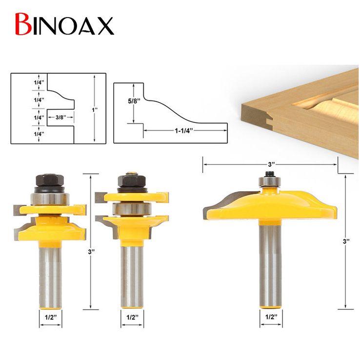 """Binoax 1/2"""" Shank 3 Bit Raised Panel Cabinet Door Router Bit Set"""