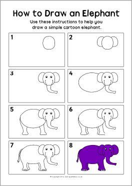 How to draw an elephant instruction sheet (SB8341) - SparkleBox