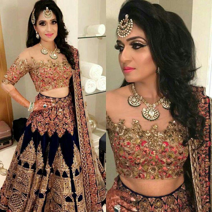 Such a beautiful lengha! Beautiful jewelry and makeup as well!! #lengha #indian #punjabi #indianwedding #punjabiwedding #sikhwedding #bridal #indianbridal