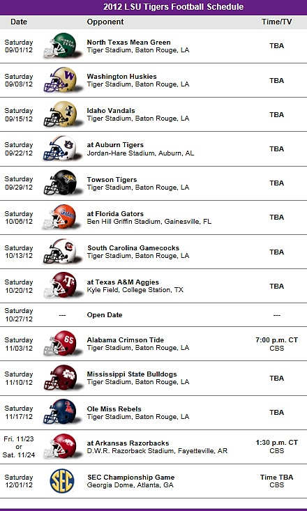LSU - Louisiana State Tigers Football Team 2012 Schedule
