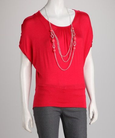 Take a look at this Red Cape-Sleeve Top & Necklace by Jazzy Martini on #zulily today!  $9.99, regular 44.00