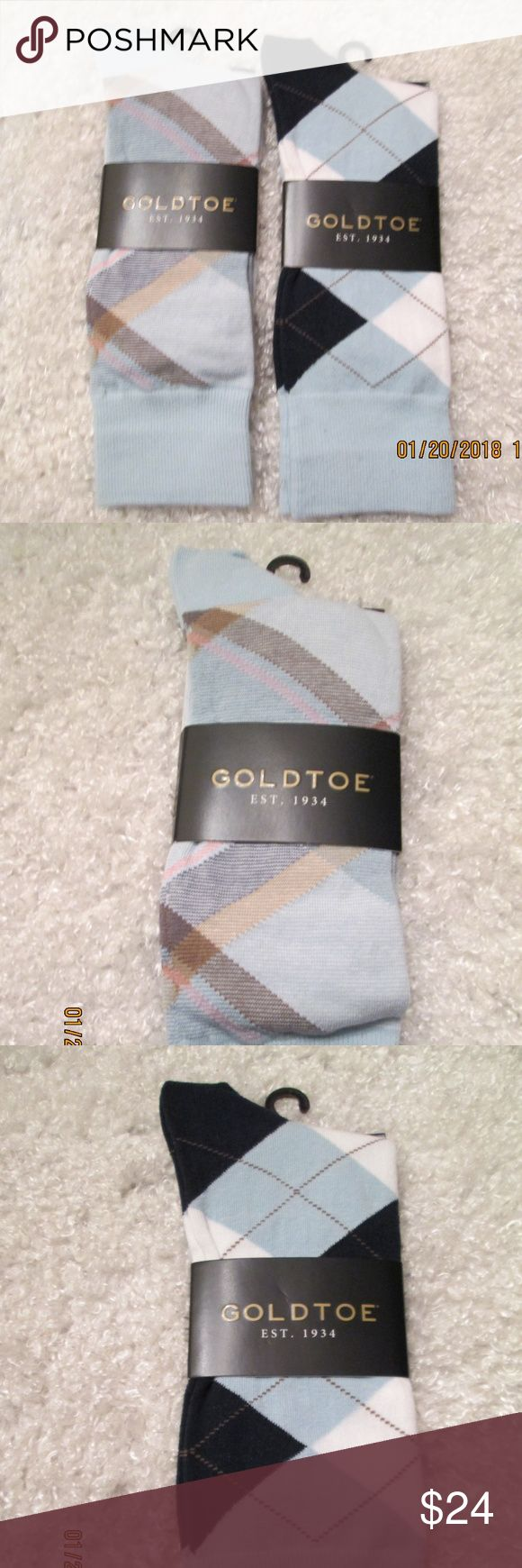 2 Pair Goldtoe Argyle & Plaid Dress Socks Brand New with Tags/Packaging 2 Pair Men's Gold Toe Crew Length Socks- Casual or Dressy 1 pair Argyle and 1 pair Plaid Steel Powder Blue, Navy, Beige, Tan, Ivory Spring/Summer Colors Gold Toe Underwear & Socks Dress Socks