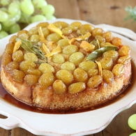 The recipes for Maggie Beer's upside-down grape cake; vino cotto, raisin, ginger and lemon shortbread; and extra virgin olive oil and verjuice ice cream as featured on Masterchef Australia