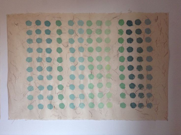 Akryl på japanpapir. Akryltryk m broccolistok. Blågrønne nuancer.