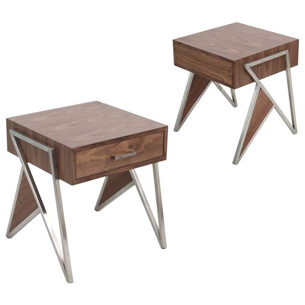 LumiSource Tetra Contemporary Walnut Wood and Stainless Steel End Table with drawer