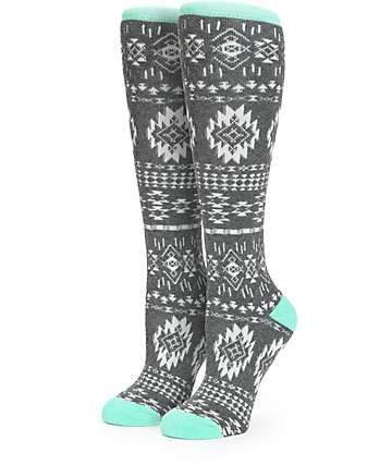Aperture Grey & Mint Tribal Snowboard Socks