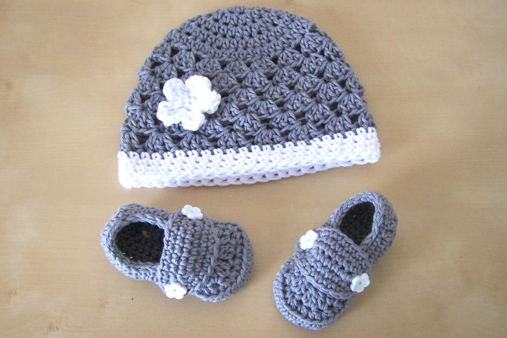 Cute Blue and White Handmade Shoes and Hat.