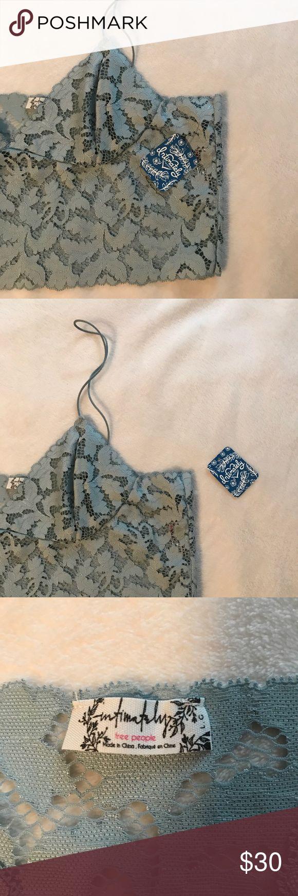 NWT free people brami bralette NWT FREE PEOPLE  sea green color lace bralette with v-neck (could be a cami) size Large Free People Intimates & Sleepwear Bras