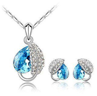ComosCow JF003 Acacia Blatt versilbert Faux- Kristall-Diamant- Halskette und Ohrringe 1 Set