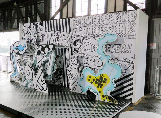RWB pop-up backdrop | comic art inspiration | digital media arts college | www.dmac.edu | 561.391.1148