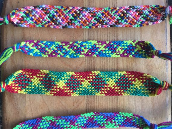 Handmade string bracelet Multicolored pattern Bracelets made to order, choose your colors in Notes to Seller Average length is around 6 inches, can be made longer or shorter if necessary Great for gifts