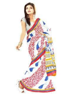 UNM4048-Sizzling corporate white pure chiffon stylish block printed saree