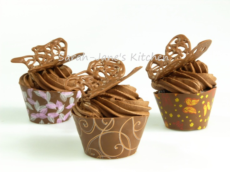 SiliconeMoulds.com Blog: Butterfly Cupcakes in Edible Wrappers (Using Chocolate Transfers)