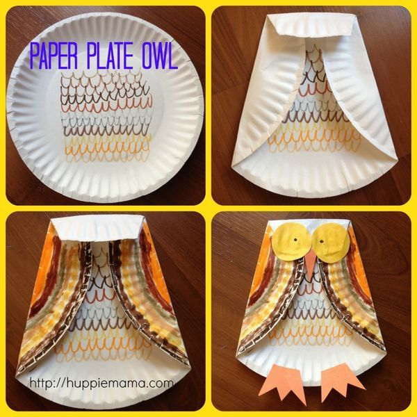"Paper Plate Owl Craft to go with ""Owl Babies"". Theme for whanau time: Library…"