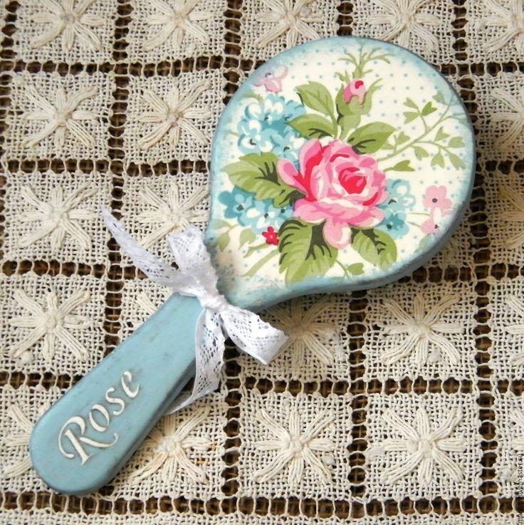 Купить Деревянная круглая расческа Дела сердечные. Декупаж - голубой, расческа, расческа для волос