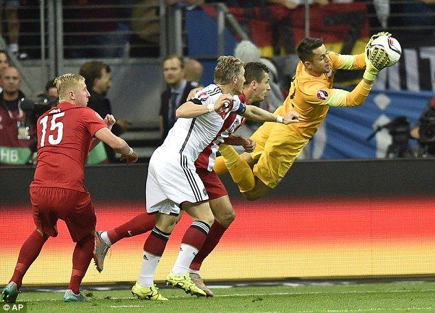 Poland goalkeeper Lukasz Fabianski (right) dives to make a save during the Euro 2016 quali...