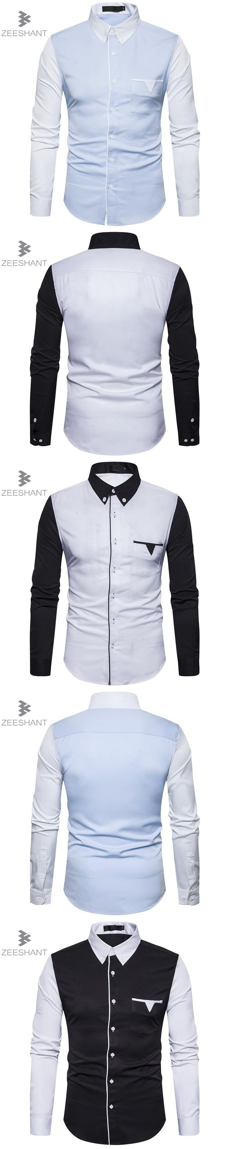 Zeeshant New Fashion Autumn Shirts For Men Slim Fit Tuxedo Casual Long Sleeve Shirt Men Clothes Mens Shirts EU Size XXL Shirt