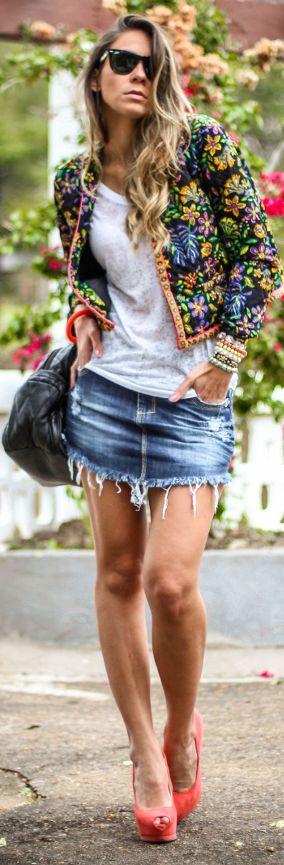 Mac Stile Blue Cut Off Ripped Denim Fringe Rounded Hem Mini Skirt by Decor e Salto Alto
