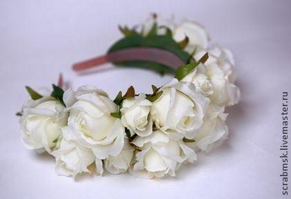 """Ободок """"Невеста"""" - ободок для волос,ободок с цветами,ободок для девочки"""