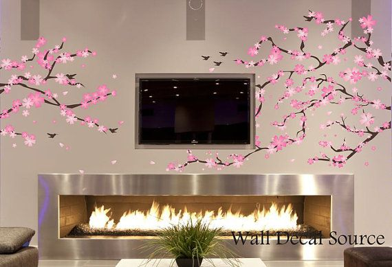 Cherry Blossom Decal  Cherry Blossom Wall Art  by WallDecalSource, $109.00