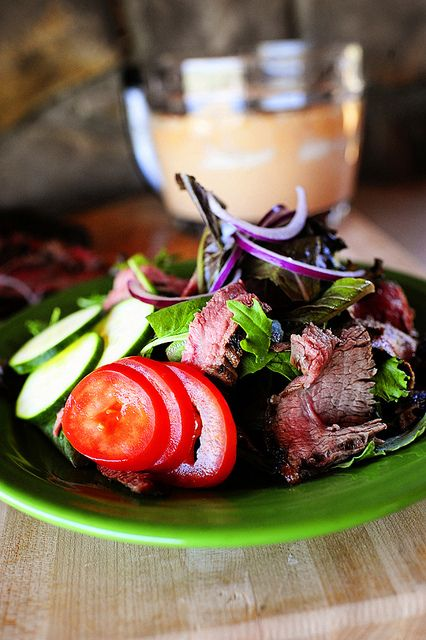 Chipotle steak salad   this steak recipe would be good with the spicy cabbage salad recipe on another board