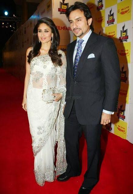 Kareena Kapoor in White Net Designer Saree