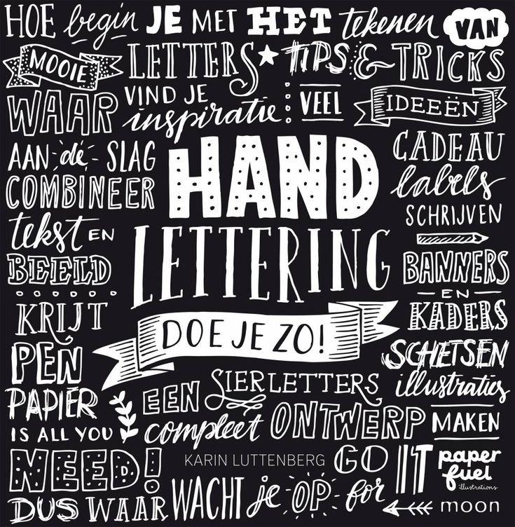 LEF collections Boek Handlettering doe je zo (karin Luttenberg) zwart wit papier 21x21,5cm - wonenmetlef.nl