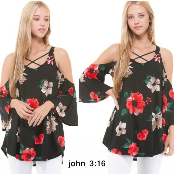 """Trending these gorgeous floral cold shoulder tops - 95% polyester 5% spandex - price is firm on unless bundled.                 Small bust - 17.5"""""""