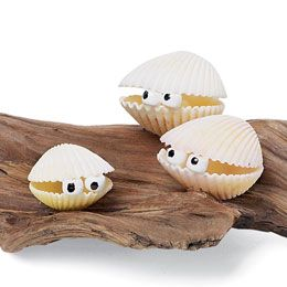 Lots of things to make with shells: mice with pipe cleaner tails, decorative soap dish, glue them on plain wooden boxes, or make these cockleshell critters - a particularly easy and 'seaside' theme for boaters. Throw a towel on the deck as an art table and let the kids use their imaginations and see what they come up with!