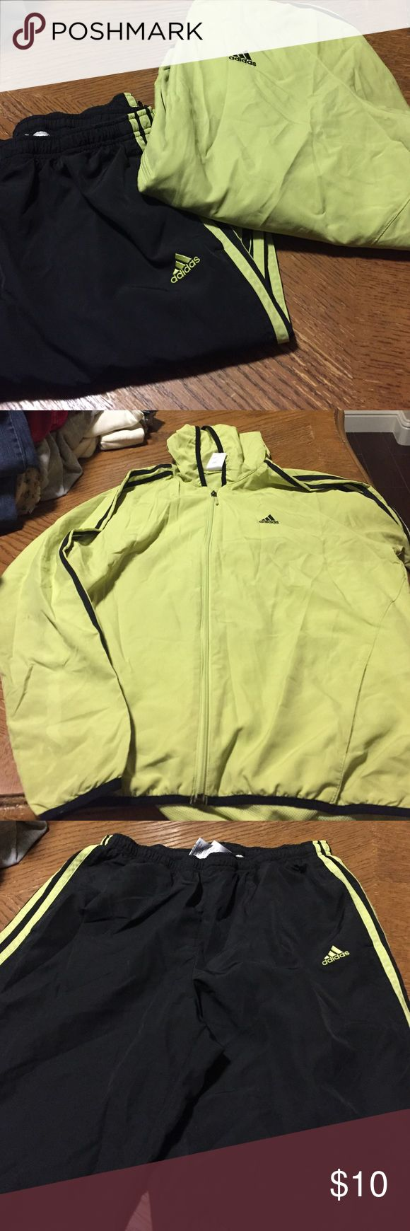 Adidas women's tracksuit Adidas women's tracksuit. Top is size XL. Bottom is size L. Small stains on the top shown in pictures. Lime color and black. Adidas Other