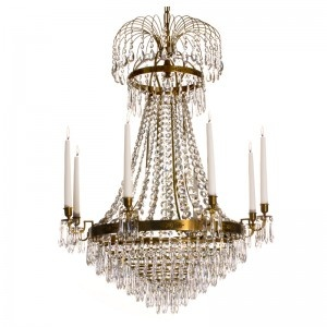 Swedish Empire style chandelier www.krebs.se/kristallkronor/klassiska   hand cut crystals and silver welded handmade frame. Fantastique!