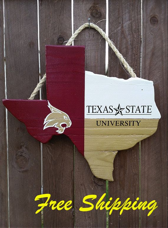 Rustic Wooden Texas State University Texas Shaped Flag Door/Wall Hanging