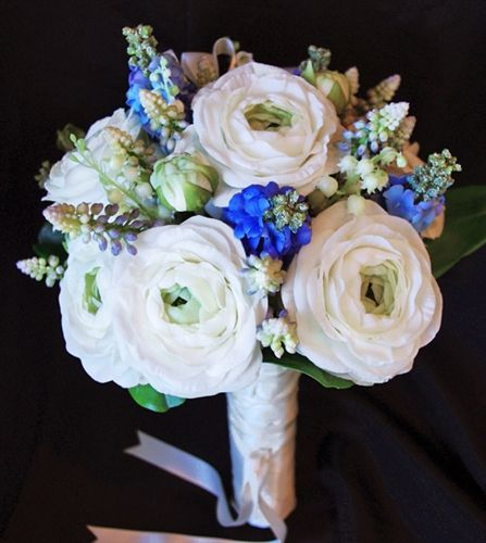 Natural Touch Off-White Ranunculus & Blue Hyacinths Bouquet
