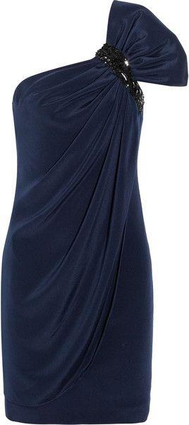 Embellished One shoulder Silk Dress - Lyst