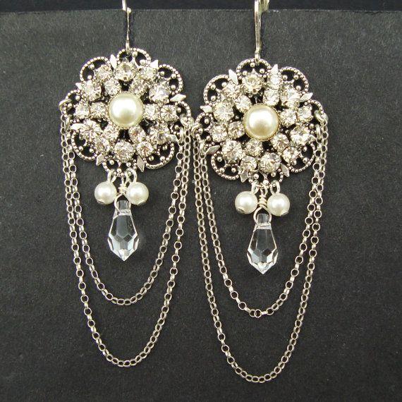 Statement Wedding Chandelier Bridal Earrings, Art Deco Style Wedding Earrings, Vintage Style Wedding Jewelry, Silver Earrings, CHARLOTTE