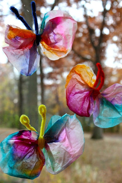 "Coffee filter butterflies from ""Navigating the Mothership"" -- great idea!"