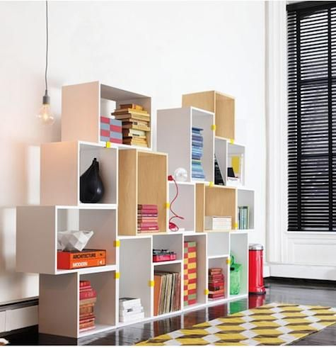 Spotted recently: modular stacked shelving units, which allow you to create shelving systems tailored to your storage needs. Here are two options: