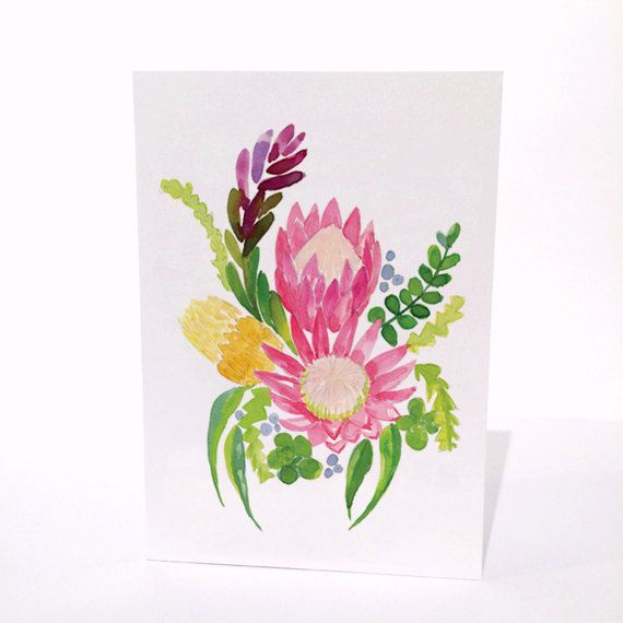 Australian Natives King Protea  A6 Greeting by MailedWithLoveAus