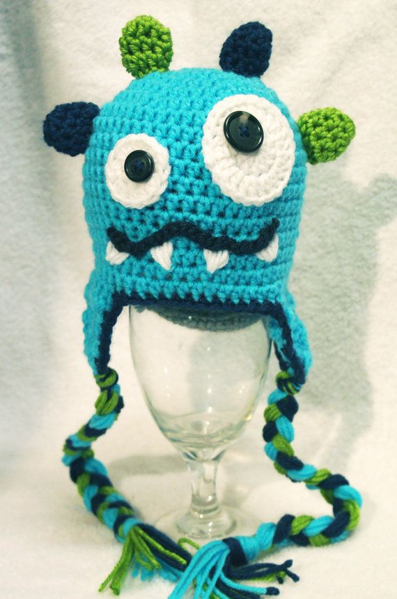 Adorable little monster crochet hat by AllAboutNoggins on Etsy, $26.00